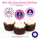 Nautical Birthday (Girl) - Printable Cupcake Toppers - Instant Download PDF File