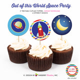 Out of this World Space Birthday (Boy) - Printable Cupcake Toppers - Instant Download PDF File - inkberrycards
