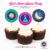 Out of this World Space Birthday (Girl) - Printable Cupcake Toppers - Instant Download PDF File