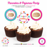 Pancakes and Pajamas Birthday (Pink, Aqua and Lime) - Printable Cupcake Toppers - Instant Download PDF File