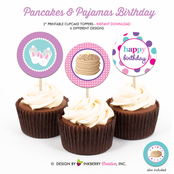 Pancakes and Pajamas Birthday (Pink, Purple and Aqua) - Printable Cupcake Toppers - Instant Download PDF File