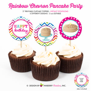 Pancakes and Pajamas Birthday (Rainbow Chevron) - Printable Cupcake Toppers - Instant Download PDF File