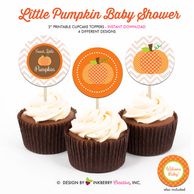 Little Pumpkin Baby Shower - Printable Cupcake Toppers - Instant Download PDF File - inkberrycards