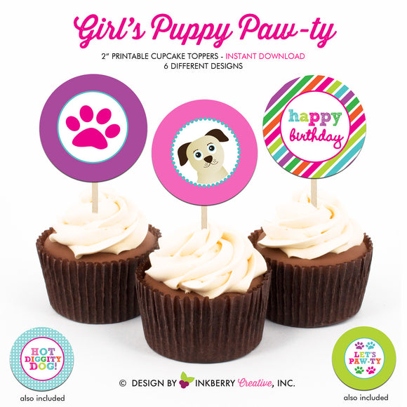 Girl's Puppy Paw-ty - Dog Birthday Party - Printable Cupcake Toppers - Instant Download PDF File - inkberrycards