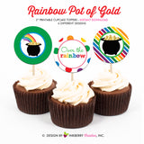 Rainbow Pot of Gold - Printable Cupcake Toppers - Instant Download PDF File