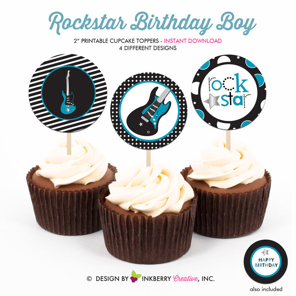 Rockstar Birthday (Blue) - Printable Cupcake Toppers - Instant Download PDF File