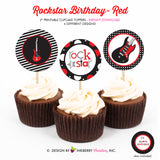 Rockstar Birthday (Red) - Printable Cupcake Toppers - Instant Download PDF File