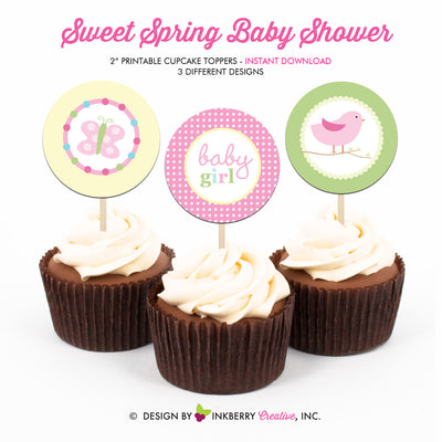 Sweet Spring Baby Shower - Printable Cupcake Toppers - Instant Download PDF File - inkberrycards