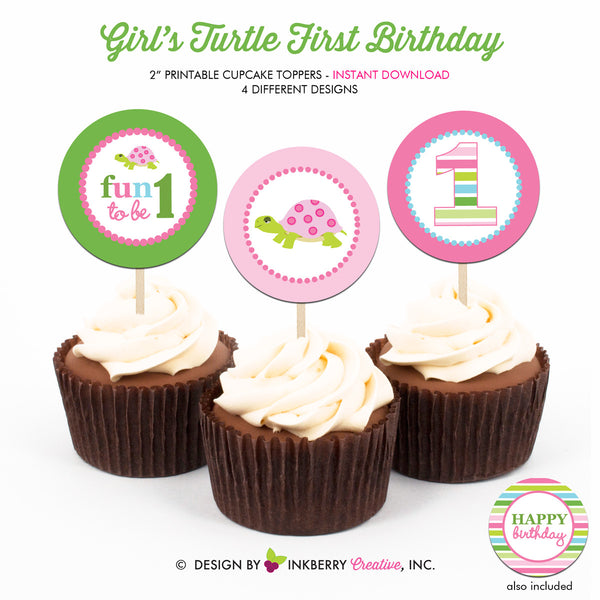 Turtle Birthday (Girl) - Printable Cupcake Toppers - Instant Download PDF File