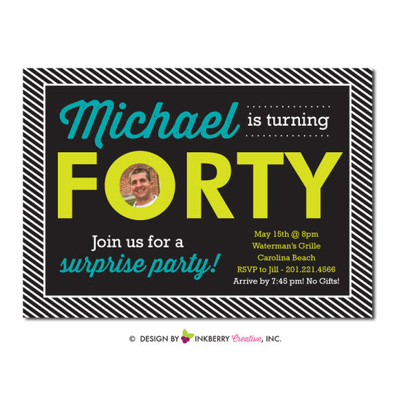 Modern Milestone - 40th Birthday Party Photo Invitation - inkberrycards