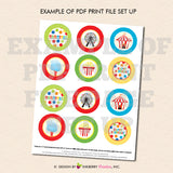 Kids Carnival (Boy) - Printable Cupcake Toppers - Instant Download PDF File