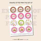 Party by the Campfire (Girls) - Printable Cupcake Toppers - Instant Download PDF File