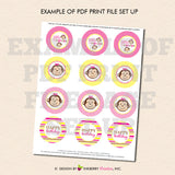 Twin Monkey Girls (Pink and Yellow) - Printable Cupcake Toppers - Instant Download PDF File