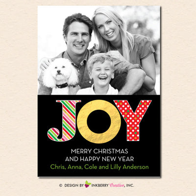 Big Joy Gold and Patterns Christmas Photo Card - inkberrycards