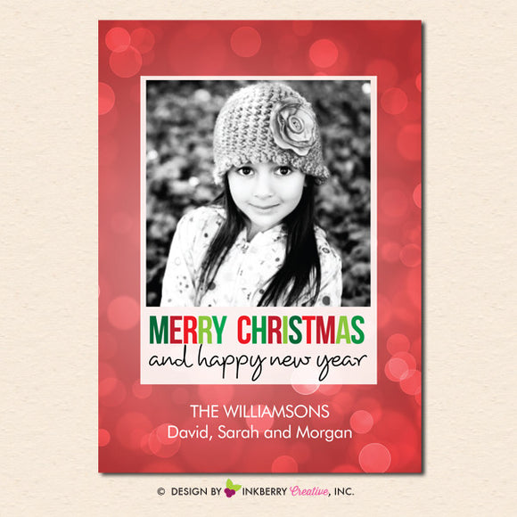 Festive Bokeh Merry Christmas Photo Card - inkberrycards
