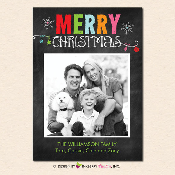 Chalkboard Ornaments Merry Christmas Photo Card - inkberrycards
