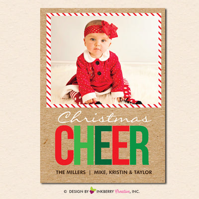 Big Cheer Kraft Style - Christmas Photo Card - inkberrycards