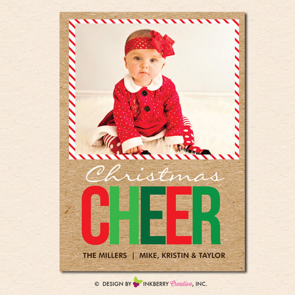 Big Cheer Kraft Style - Christmas Photo Card