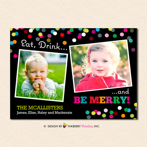 Eat Drink and Be Merry Christmas Photo Card - inkberrycards