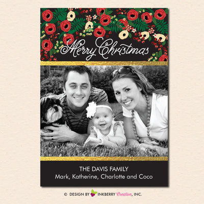 Festive Floral and Gold Christmas Photo Card - inkberrycards