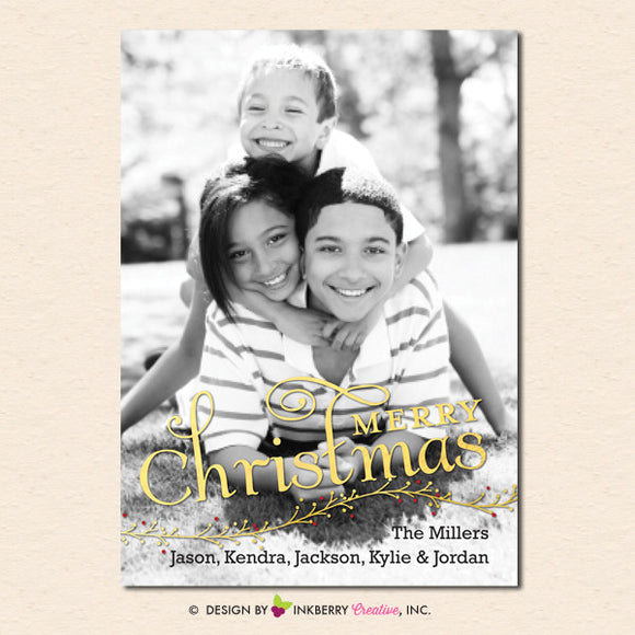 Gold Berry Branch Overlay Christmas Photo Card - inkberrycards