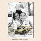 Gold Berry Branch Overlay Christmas Photo Card