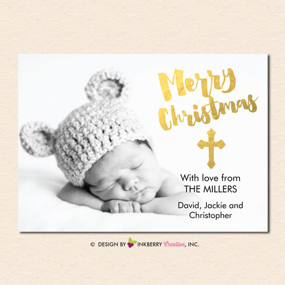 Merry Christmas Gold Cross Overlay Christmas Photo Card - inkberrycards