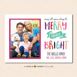 Modern Merry Bright Banner Christmas Photo Card