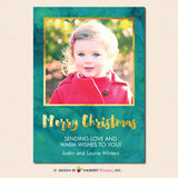 Painted Gold and Green Merry Christmas Photo Card - inkberrycards