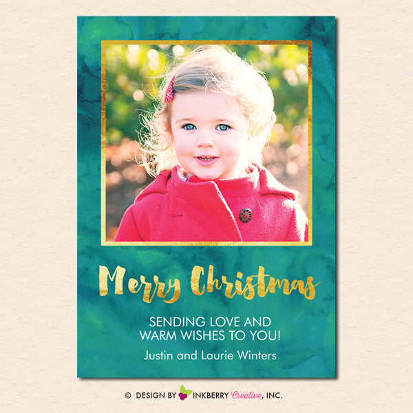 Painted Gold and Green Merry Christmas Photo Card