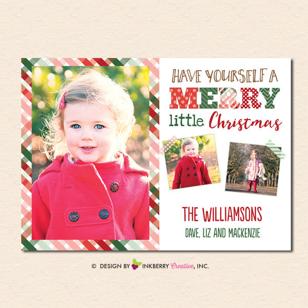 Merry Little Christmas Plaid Christmas Photo Card