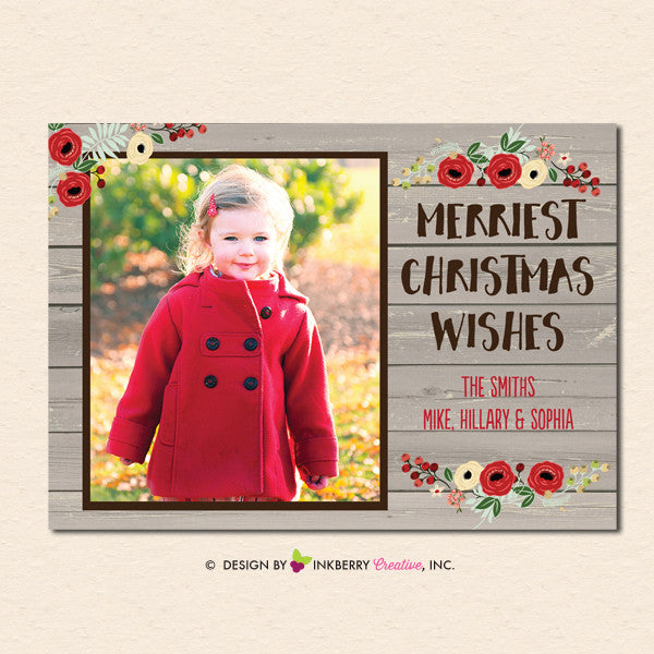Rustic Woodgrain Floral Christmas Photo Card