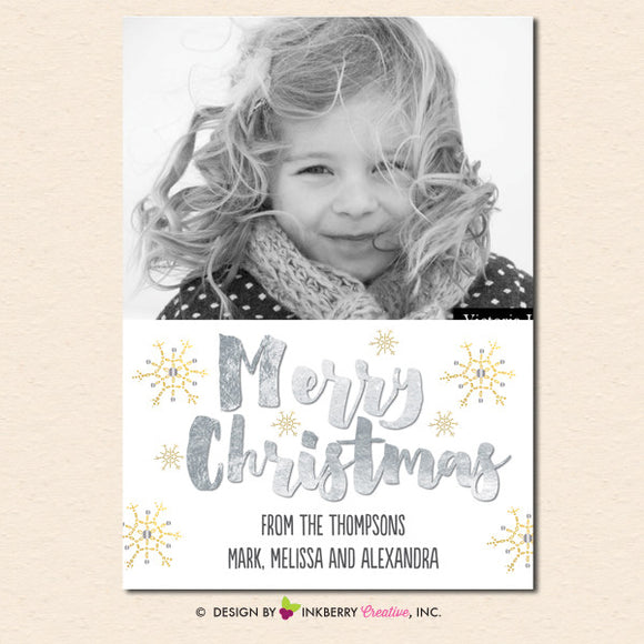 Silver and Gold Snowflakes Merry Christmas Photo Card - inkberrycards