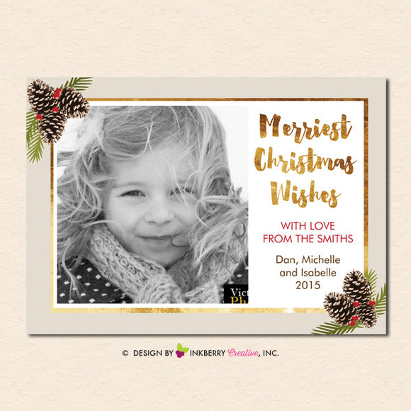 Golden Winter Pinecones Merry Christmas Photo Card - inkberrycards