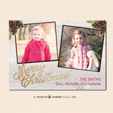 Rustic Christmas Woodgrain Pinecones Merry Christmas Photo Card