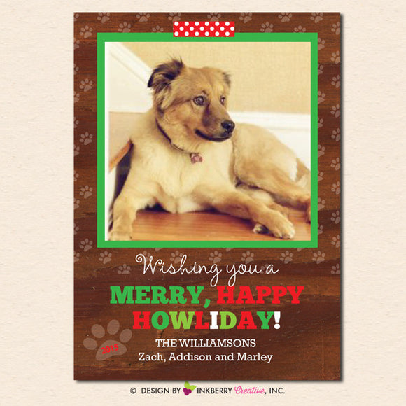 Merry Happy Howliday Pet Christmas Photo Card - inkberrycards
