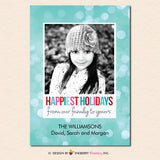 Happiest Holidays Bokeh - Holiday Photo Card - inkberrycards