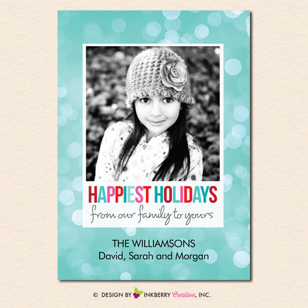 Happiest Holidays Bokeh - Holiday Photo Card