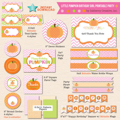 Little Pumpkin Girl Birthday - DIY Printable Party Pack - inkberrycards