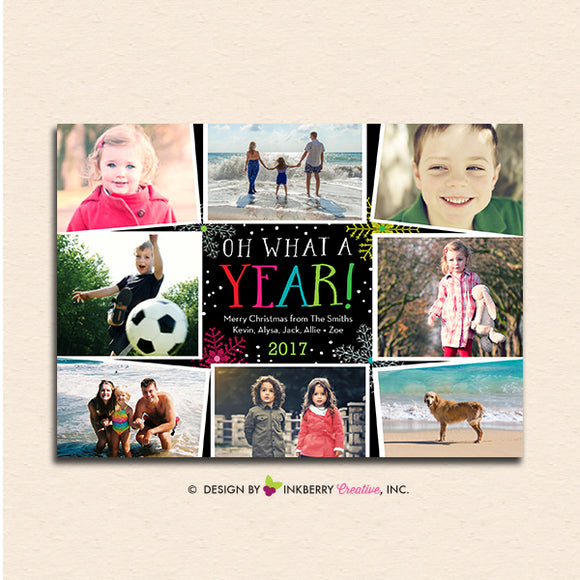 Oh What A Year - 8 Photo Collage - Christmas Photo Card - inkberrycards