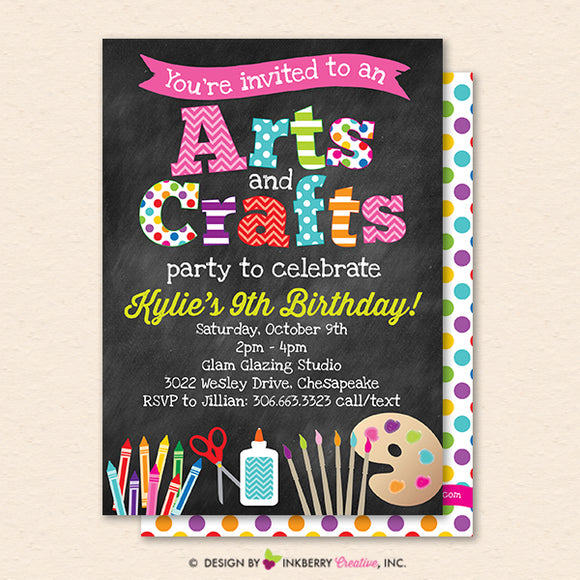 Arts and Crafts Birthday Party Invitation, Chalkboard Style, Kids Arts Crafts Painting Party - Printable, Instant Download, Editable, PDF