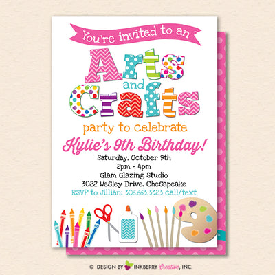 Arts and Crafts Birthday Party Invitation, Kids Arts Crafts Painting Party - Printable, Instant Download, Editable, PDF