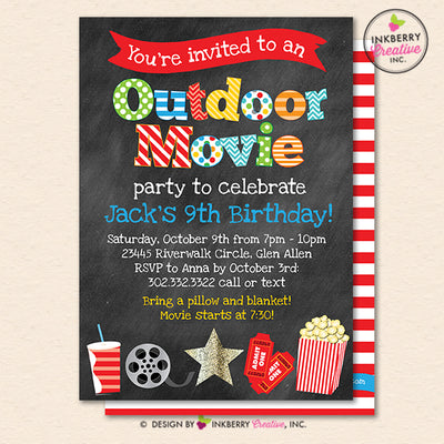 Outdoor Movie Party Invitation - Backyard, Outdoor, Birthday, Boys Movie Party - Printable, Instant Download, Editable, PDF - inkberrycards