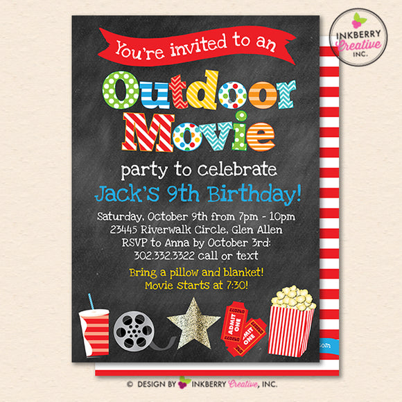 Outdoor Movie Party Invitation - Backyard, Outdoor, Birthday, Boys Movie Party - Printable, Instant Download, Editable, PDF