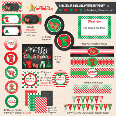 Christmas Pajamas Party - Chalkboard Style - DIY Printable Party Pack
