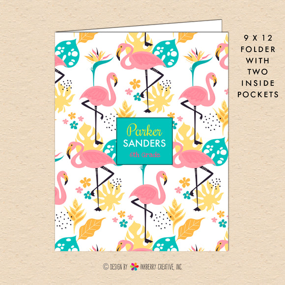 Fancy Flamingo - Kids Personalized, Custom Pocket Folder - Homework, School, Durable Pocket Folder for Back to School - Pink Flamingos Folder
