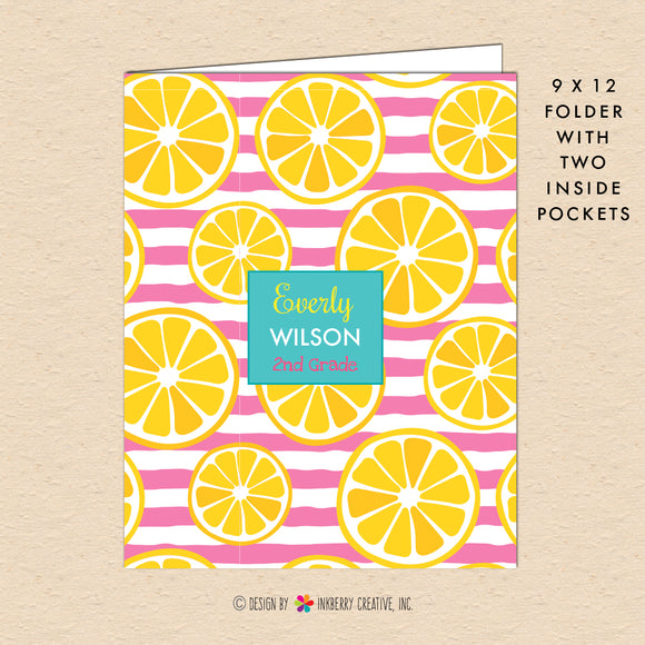 Pink Stripe Lemon Slice - Kids Personalized, Custom Pocket Folder - Homework, School, Durable Pocket Folder for Back to School - Pink Yellow Lemon Folder