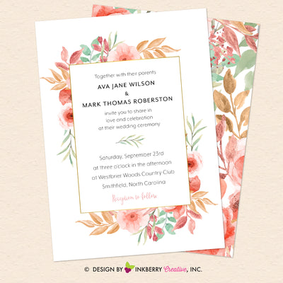 Beautiful Blooms - Watercolor Painted Floral Printable Wedding Invitation - Instant Download, Editable PDF - Edit with Adobe Reader - inkberrycards