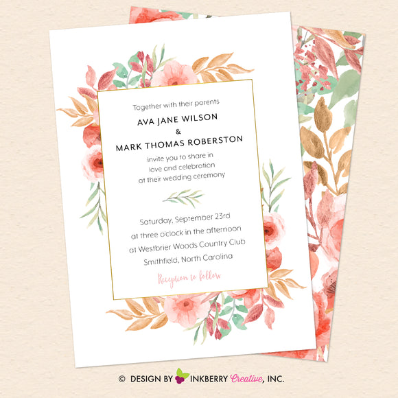 Beautiful Blooms - Watercolor Painted Floral Printable Wedding Invitation - Instant Download, Editable PDF - Edit with Adobe Reader