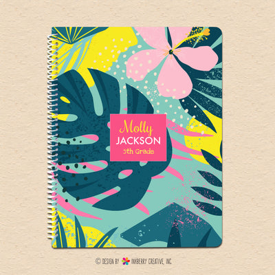 Modern Bright Floral Leaves - Kids Personalized, Custom Notebook - Homework, School, Durable Spiral Notebook for Back to School - Palm Leaf, Flowers